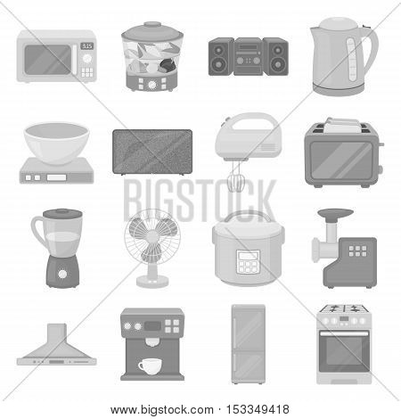 Household appliances set icons in monochrome style. Big collection of household appliances vector symbol stock
