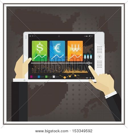 vector financial digital computer online business stock chart on tablet