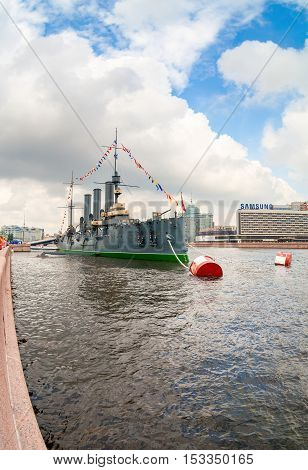 ST. PETERSBURG RUSSIA - JULY 29 2016: The legendary revolutionary cruiser Aurora at the place of eternal parking on the Petrograd embankment