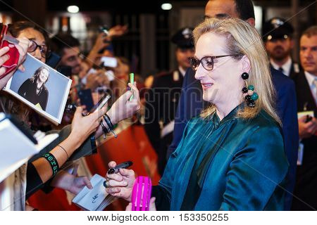 Rome Italy - October 20 2016. The American actress Meryl Streep on the red carpet at Rome Film Festival greets fans and signs autographs. At the Auditorium Parco della Musica.