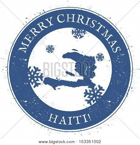 Haiti Map. Vintage Merry Christmas Haiti Stamp. Stylised Rubber Stamp With County Map And Merry Chri