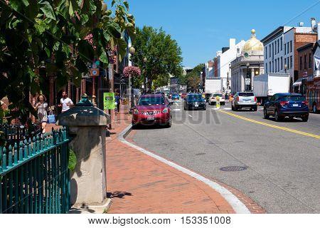 WASHINGTON D.C.,USA - AUGUST 16,2016 : Street scene at the Georgetown nighborhood in Washington D.C.