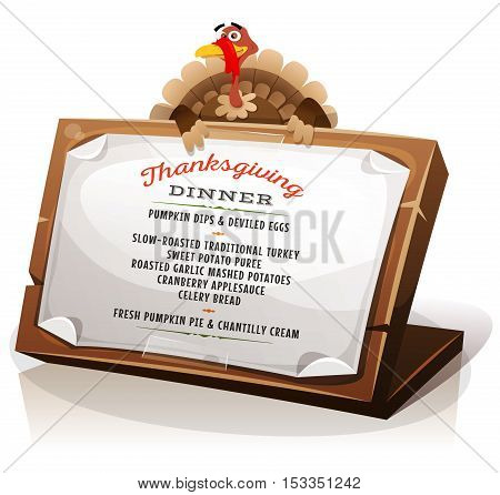 Illustration of a cartoon turkey character holding wood sign with paper with dinner menu and recipes examples for traditional thanksgiving holidays