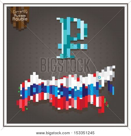 Business money rouble and Spending russia dotted lines on the map gray background