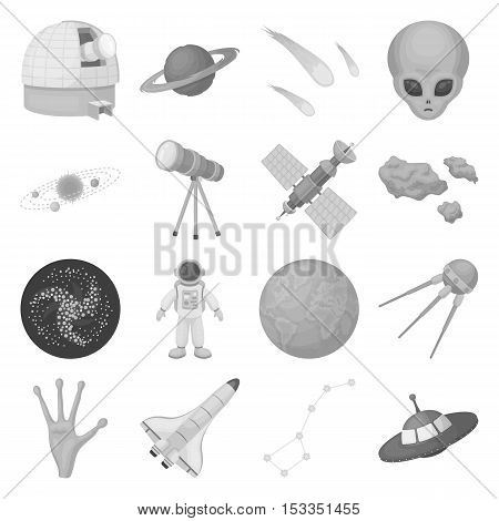 Space set icons in monochrome style. Big collection of space vector symbol stock