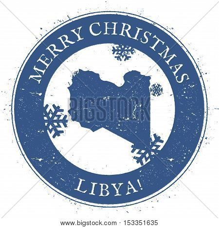 Libya Map. Vintage Merry Christmas Libya Stamp. Stylised Rubber Stamp With County Map And Merry Chri
