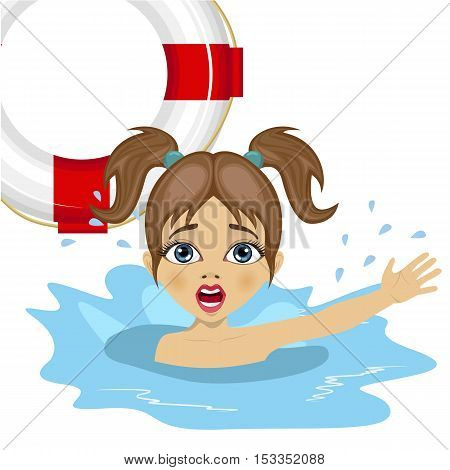little girl screaming in water while somebody throws a ring buoy lifebuoy