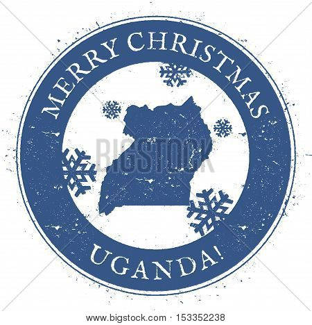 Uganda Map. Vintage Merry Christmas Uganda Stamp. Stylised Rubber Stamp With County Map And Merry Ch