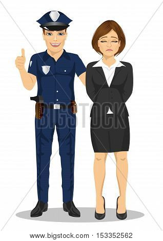 Policeman arresting a businesswoman. White collar criminal isolated white background
