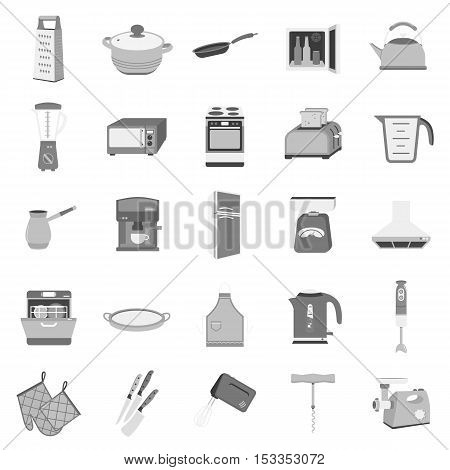 Kitchen set icons in monochrome style. Big collection of kitchen vector symbol stock