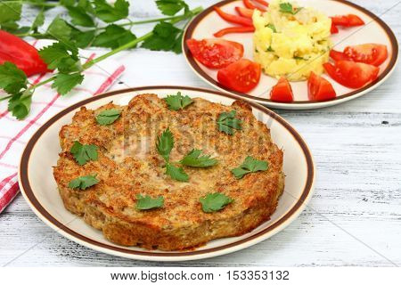 Meat cake made from mincemeat eggs handful of breadcrumbs and spices