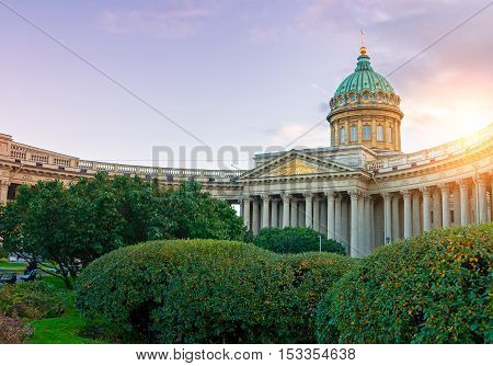 Kazan Cathedral in Saint Petersburg Russia -one of the largest churches of St. Petersburg made in the Empire style. Sunset view of Saint Petersburg landmark under soft evening sunshine