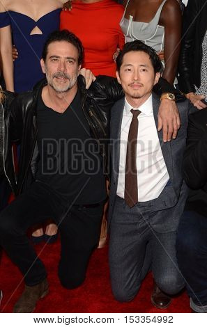 LOS ANGELES - OCT 23:  Jeffrey Dean Morgan, Steven Yeun at the AMC's Special Edition of