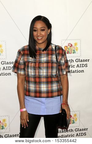 LOS ANGELES - OCT 23:  Tia Mowry at the Elizabeth Glaser Pediatric AIDS Foundation A Time For Heroes Event at Smashbox Studios on October 23, 2016 in Culver City, CA