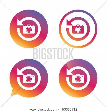 Front photo camera sign icon. Digital photo camera symbol. Change front to back. Gradient buttons with flat icon. Speech bubble sign. Vector