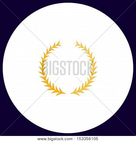 laureate wreath Simple vector button. Illustration symbol. Color flat icon
