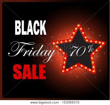 Black Friday retro light frame. Sale 70  off discount. Vector illustration