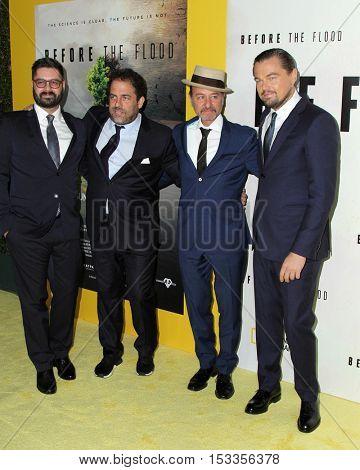 LOS ANGELES - OCT 24:  Tim Pastore, Brett Ratner, Fisher Stevens, Leoardo DiCaprio at the Screening of