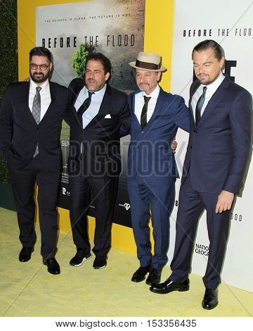 LOS ANGELES - OCT 24:  Tim Pastore, Brett Ratner, Fisher Stevens, Leoardo DiCaprio at the Screening of