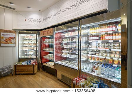 HONG KONG - CIRCA JANUARY, 2016: interior of Pret a Manger. Pret a Manger is a sandwich shop chain based in the United Kingdom