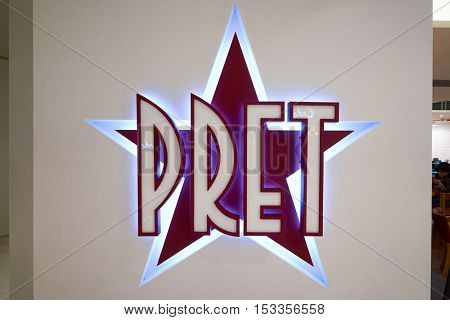 HONG KONG - CIRCA JANUARY, 2016: close up shot of Pret a Manger sign. Pret a Manger is a sandwich shop chain based in the United Kingdom
