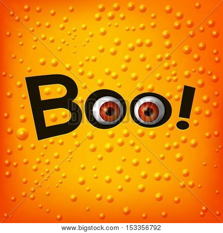 Hanging word BOO text with monster eyes on skin textured background. Orange fun baby background. Vector illustration
