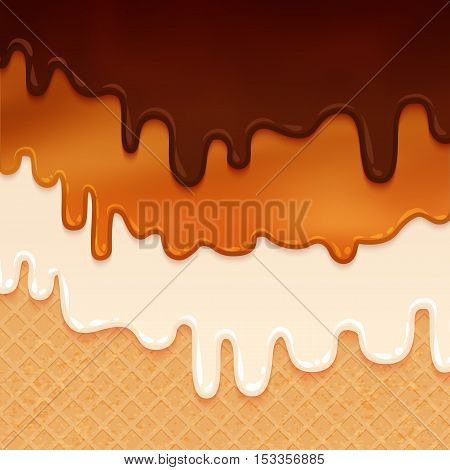 Flowing glaze on wafer texture. Liquid chocolate and cream. Sweet food vector background. Abstract. Melt icing ice cream on waffle seamless pattern. Editable - Easy change colors.