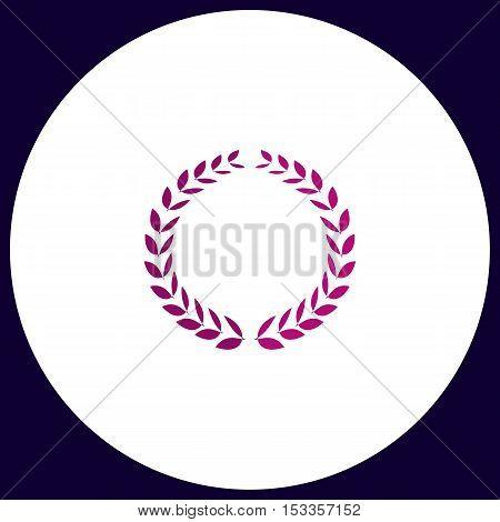 triumph wreath Simple vector button. Illustration symbol. Color flat icon