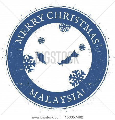 Malaysia Map. Vintage Merry Christmas Malaysia Stamp. Stylised Rubber Stamp With County Map And Merr