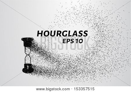 Hourglass of particles. Hourglass crumble into circles and points.