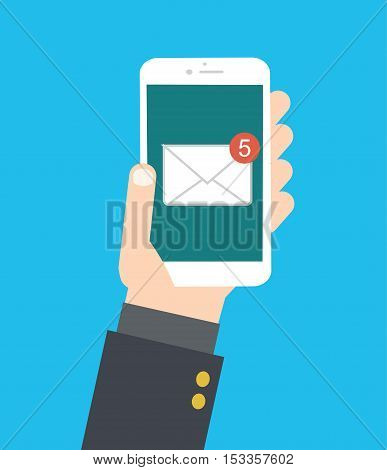 Hand Holds Smartphone New Email Message - Mobile New Message Vector Illustration Flat Stock