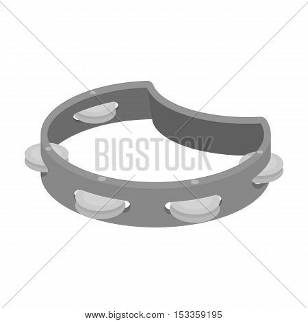 Tambourine icon in monochrome style isolated on white background. Musical instruments symbol vector illustration