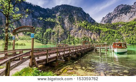 Marina For Boats On The Lake Konigssee In The German Alps