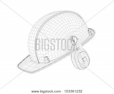 3d rendering of a helmet wire with the protection of ears, isolated on white background. Worker helmet. Industrial and construction. Workwear and safety gear. Safe life.