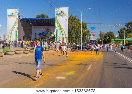 DNEPR UKRAINE - SEPTEMBER 10 2016:People gathering near main stage on the Dnepr river embankment during City Day local activity in Dnepr, Ukraine at September 10, 2016