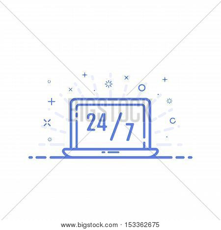 Vector illustration of icon online shopping concept in line style. Linear blue lap top with text 24 7. Design for internet, banner, web page and mobile app. Outline object e-commerce.