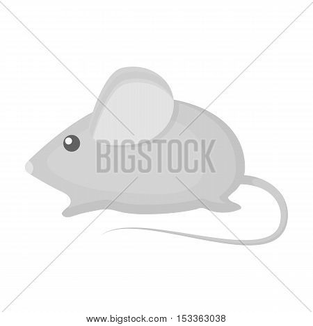 House mouse icon in monochrome style isolated on white background. Cat symbol vector illustration.