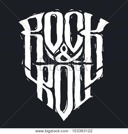 Rock music print hipster vintage label graphic design with grunge effect tee print stamp. t-shirt lettering artwork Vector illustration in flat cartoon style isolated from the background EPS 10