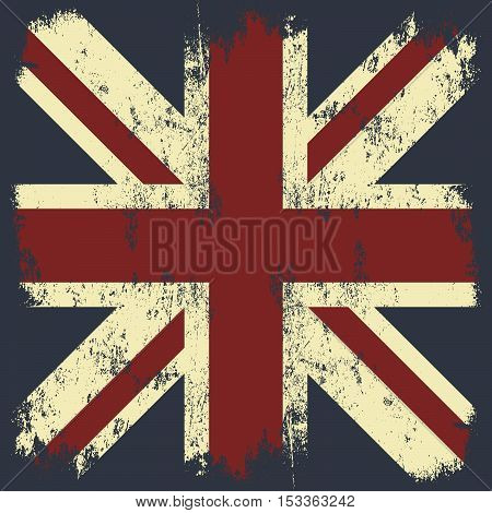 Vintage United Kingdom of Great Britain and Northern Ireland flag tee print vector design. Grunge Union Jack illustration. Premium quality London t-shirt wear emblem and logo concept.