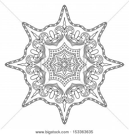 Monochrome Outline Mandala. Oriental Decoration for Coloring Book. Anti-Stress Therapy Pattern. Universal Design Element. Circular Patterned Ornament. Decorative Round Tracery.
