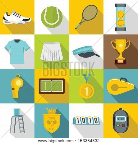 Tennis icons set. Flat illustration of 16 tennis vector icons for web