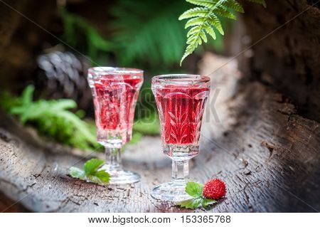 Tasty Liqueur With Wild Strawberry And Alcohol