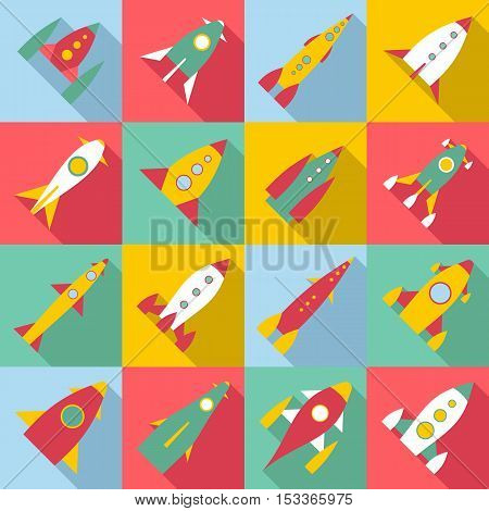 Rocket launch icons set. Flat illustration of 16 rocket launch vector icons for web