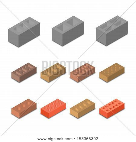 Set isometric icon construction materials various in form cinder blocks and bricks isolated on white background vector illustration.