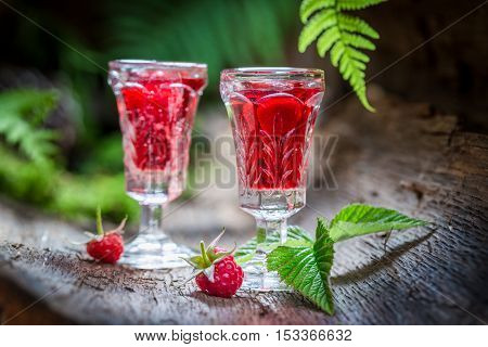 Delicious Raspberries Liqueur Made Of Fruits And Alcohol