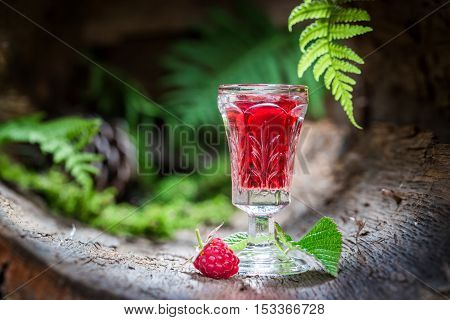 Healthy Raspberries Liqueur Made Of Fruits And Alcohol