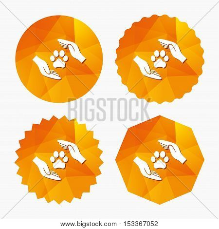 Protection of animals sign icon. Hands protect paw symbol. Shelter for dogs. Animals insurance. Triangular low poly buttons with flat icon. Vector