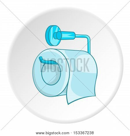 Roll of toilet paper on a metal holder icon. Cartoon illustration of roll of toilet paper on a metal holder vector icon for web