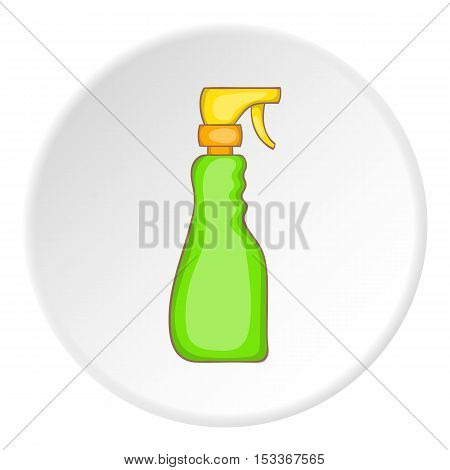 Green household spray bottle icon. Cartoon illustration of household spray bottle vector icon for web