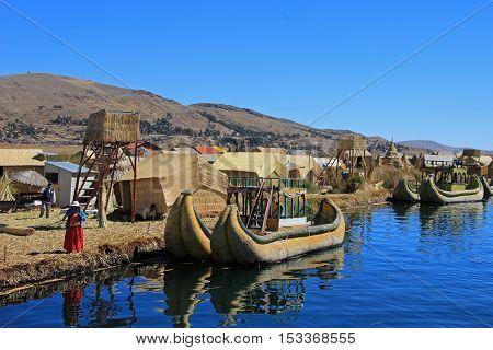 Totora reed floating islands Uros, lake Titicaca, near Puno, Peru